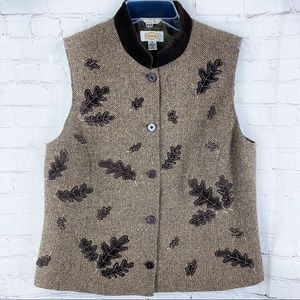 Talbots Wool Tweed Herringbone Velvet Leaves Vest